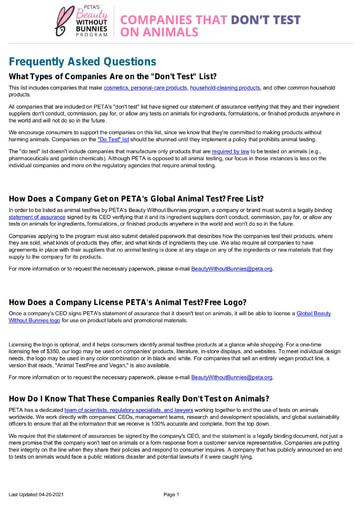 Lista de empresas que não testam - Peta
