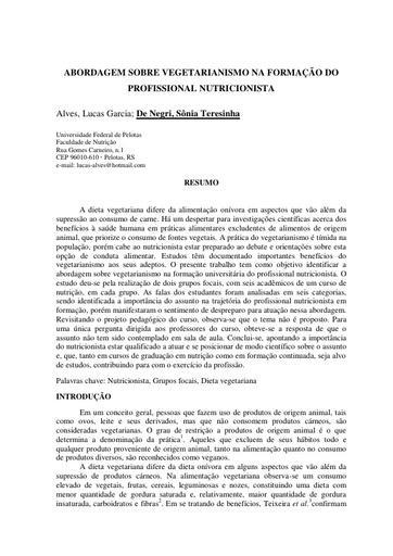 Artigo   Abordagem sobre vegetarianismo na formação do profissional nutricionista   Sônia Teresinha De Negri