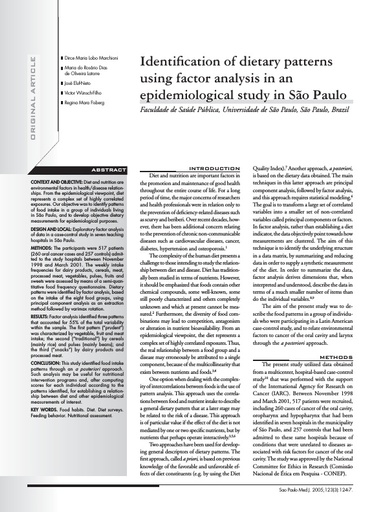 Indetification of dietary patterns using factor analysis in a epidemiological study in São Paulo