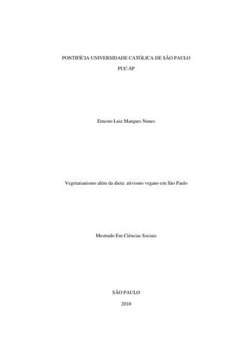 Dissertação   Vegetarianismo além da dieta   ativismo vegano em São Paulo   Ernesto Luiz Marques Nunes