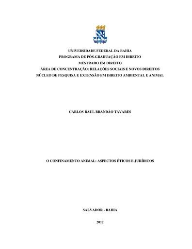 Dissertação   O confinamento animal (aspectos éticos e jurídicos)   Raul Tavares