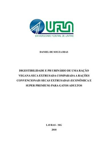 Ração vegetariana  TCC   Digestibilidade e ph urinário de gatos pdf